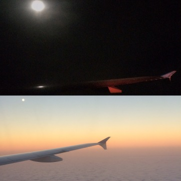 Just after take-off and then just before landing. Beautiful!